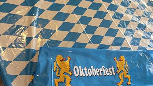 (Sachsen Versand Tisch-Decke Bier-Zelt-Bank-Garnitur Party blau weiß Deko Oktoberfest Dekoration ca. 270 x 135 cm)