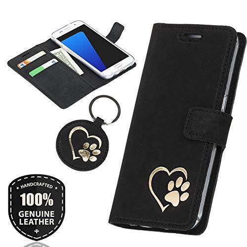SURAZO Gold Hundeherz - Premium Vintage Ledertasche Schutzhülle Wallet Case aus Echtesleder Nubukleder Farbe Schwarz für Lenovo/Motorola Moto G5 (5,00 Zoll)