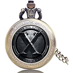"XMEN Logo Antique Bronze Effect Retro/Vintage Case Men's Quartz Pocket Watch Necklace - On 32"" Inch / 80cm Chain"