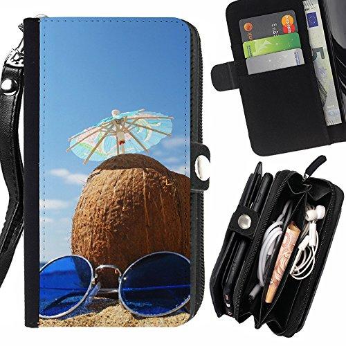 FJCases Sommer Kokusnuss Strand Sonnenbrille Handschlaufe und Reißverschluss Hülle Schutzhülle für Samsung Galaxy J3 Emerge/Galaxy J3 Prime/Galaxy J3 Eclipse