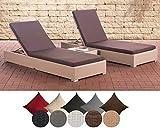 CLP 2X Polyrattan Sonnenliege NADI inkl. Tisch I 2X Wellnessliege mit Verstellbarer Rückenlehne I in verschiedenen Farben erhältlich terrabraun, Sand
