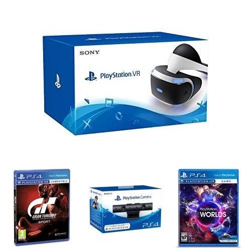 Sony PlayStation VR (PS4) + Gran Turismo Sport - Edición Estándar + Sony - Cámara (PS4) + PlayStation VR Worlds