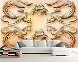 LHDLily 3D Wandbild Tapete Wallpaper Fresken Mural Benutzerdefinierte Hintergrundbilder Reich Pfingstrose Phoenix Dreidimensionale Jade Fernseher Sofa Hintergrund Wand Dekorative Malerei 3D Wallpaper 350cmX250cm