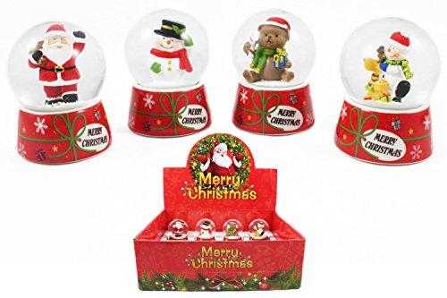 Schneekugeln im Display Merry Christmas, ca. 6.5 cm, 4fach sortiert, 12 Stück (0982910) (Weihnachten Schneekugel-display)
