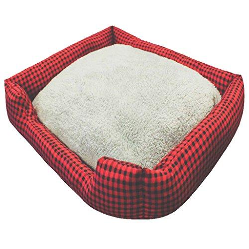 Pet Supplies 'Hunde-Bett, Plüsch, Memory Foam, wasserdicht, erleichtert Hund, mit Arthritis & Warm, mit Matratze, waschbar, PP, die Wagen, Stoff, Baumwolle, gepolstert, rot, S (Hundebett Lounger)
