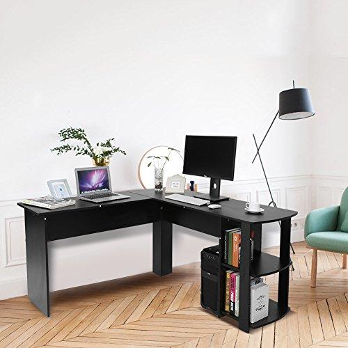 L-förmiger Computerschreibtisch, Laptop mit Bibliothek, Eckschreibtisch zum Lernen und Arbeiten (Schwarz)
