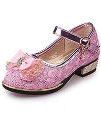 ARAUS Chaussures de Princesse pour Enfants Filles Ballerine Noeud Soiree  Princess Chaussures Paillette 16-24cm 1b238a3b6675
