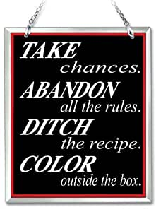 "Amia 41634 ""Take Chances"" Hand-Painted Beveled Glass Suncatcher, 5 by 6-Inch by Amia"