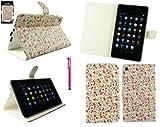 Emartbuy® Asus Google Nexus 7 2 II Tablet (Lanciata Luglio 2013) Hot Rosa Stylus + Floreale Rosa Wallet Case Custodia Cover Desktop Stand