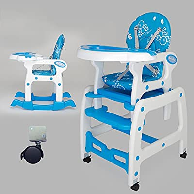 Brisk- Multifunction Children's Dining Chair Modular Baby Plastic Table Eating Chair Dinette Seats (Color : Blue And White)