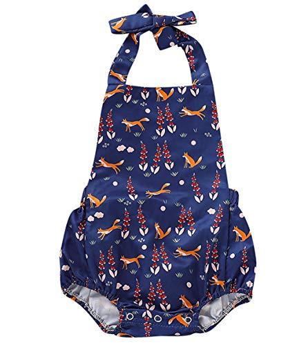 AIKSSOO Baby Mädchen Outfits Fox Print Halter rückenfreier Overall Strampler Bodysuit Sunsuit (Color : Blue, Size : 70) (Für Erntedank-kleid Kleinkind-jungen)