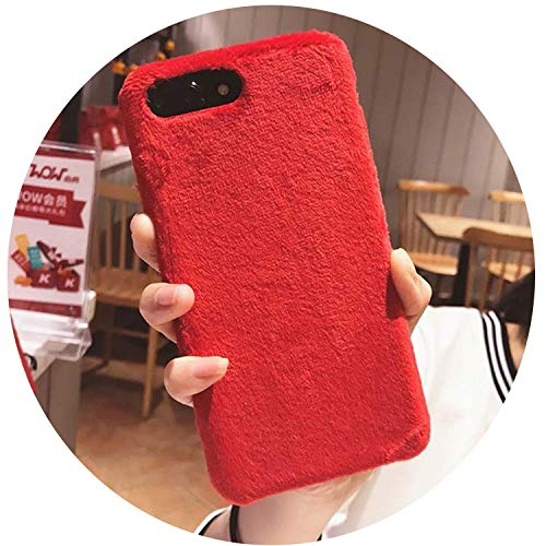 für iPhone XS Max XR X Cover Hard Smooth Plüsch Case für iPhone 8 Plus 6 6S 7 Plus, Rot, für iPhone XR ()