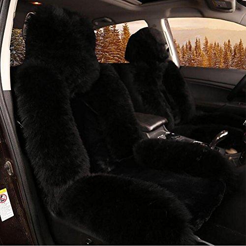 Wolle Auto Sitz Bezug Luxus Innen Dick Universal KFZ-Kissen Winter Pure Soft Kissen Winter New Plüsch Auto-Sitzbezug für Automarke Dekoration im Winter warm, black