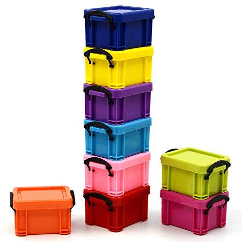 9 x Mini plástico caja de joyería/regalo caja/caja de almacenaje para anillos pendientes o