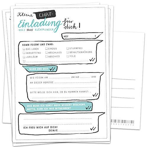 10 Einladungskarten - Kleine Chat Einladung für dich! | Weiß Türkis Grün | Postkarten Einladungen zum Geburtstag, Jubiläum, Party, Einzug, Abschluss, Abschiedsfest u.v.m. | DIY Design mit Adressfeld