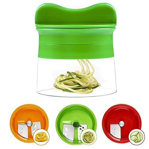 Cortador de verduras y vegetales en espiral con 3 cuchillas, crea diferentes tipos de espagueti y come con una dieta baja en carbohidratos