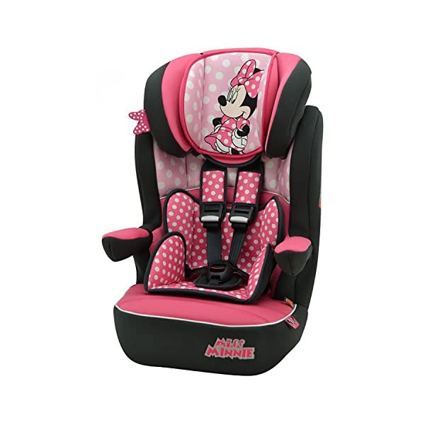 Nania i-Max Group 1/2/3 High Back Booster Car Seat, Disney Minnie nania High back booster car seat with harness Side impact protection and adjustable padded headrest Designed to ensure your little one travels in comfort 1