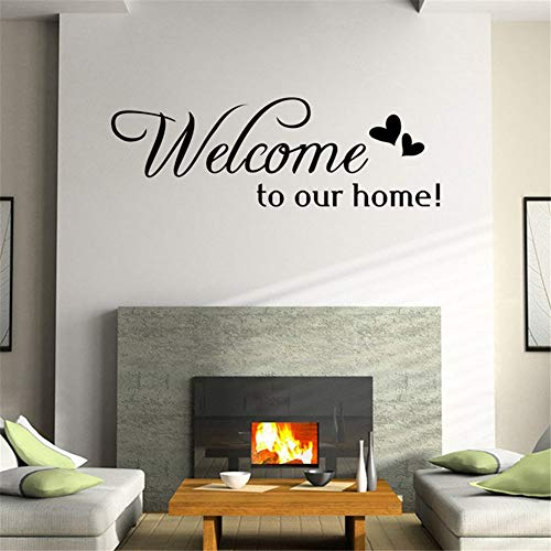 EUFJSDHF Etiqueta de la pared Welcome To Our Home Quote Wall Stiker Home Decorative Removable Vinyl Wall Stickers For Living Room Hotel,Welcome To Our Home