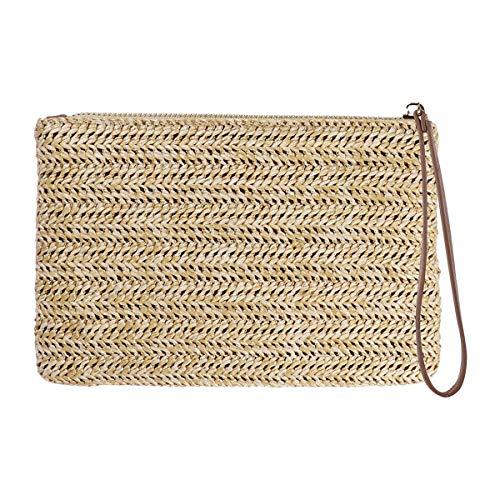 Fenical Stroh Clutch Bag böhmischen Reißverschluss Armband Sommer Strand Handtasche für Frauen Mädchen
