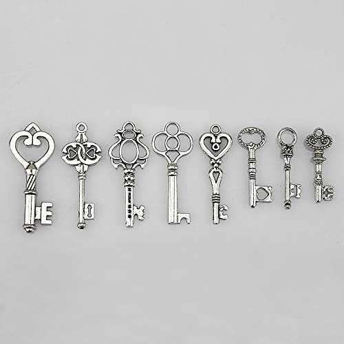 LolliBeads (TM) Antiqued Silver Plated Assorted Key Charm Set Necklace Pendant, Victorian Filigree Heart Royal Key (40 Pcs) by LolliBeads