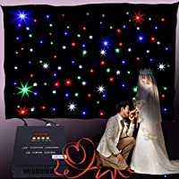 MuGuang 3x2m DMX Curtain RGB 108pc LED Star Background Curtain with Controller for DJ Stage Wedding Romantic Birthday Home Party Garden