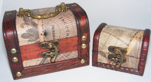 Something Different Truhe, 2er-Set, rustikal, Holz, handgefertigt, antike Karte, Kolonialstil, Piraten-Schatztruhe, Schmucktruhe, 2 ineinander passende Boxen, tolle Geschenkidee