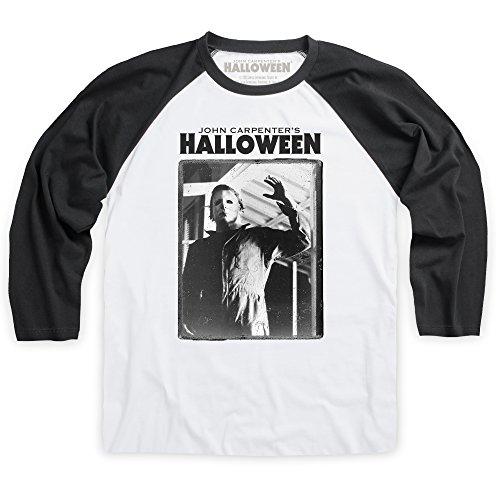 Official Halloween Baseballshirt Michael Myers, Herren, Wei-Schwarz, S