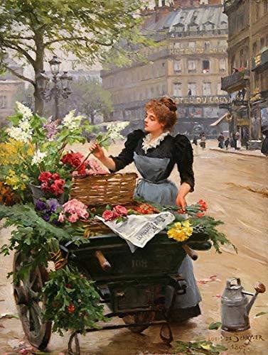 Toperfect 50-2000 € - Durch Kunstakademielehrer von Hand gefertigte Ölgemälde - Louis Marie de Schryver Parisienne Blumen Mädchen FRIM2 - Gemälde auf Leinwand -Maße04 (Esszimmer-dekorationen Unter $30)