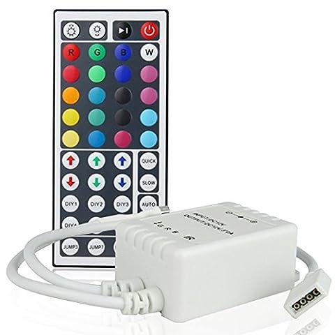 Casfer 12V 44 Keys Remote Controller with IR Signal Receiver for 5050 3528 RGB LED Strip Lights, Tape Lights, Rope Lights, Ribbon Lights
