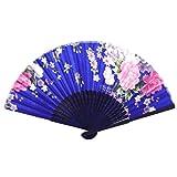 sourcing map Azul Marino Bamboo Estriado Estampado De Flores Plegable Fresca Abanico
