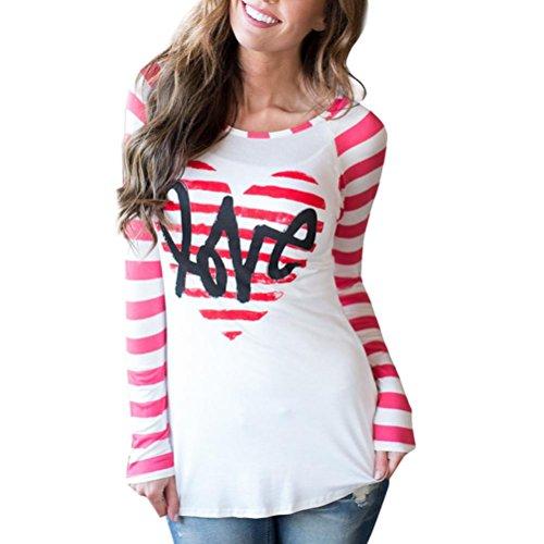 Valentine's Day Gift T-Shirt Damen Bluse Elegante Shirt Mädchen Lose Top Btruely Frauen Langarmshirt Oberteile Gestreift Herz Hemden (S, Rot) (Valentine Mantel)