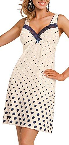R-Dessous exklusives Damen Nachtkleid beige Negligee Sleepshirt Viskose Nachtwäsche Nachthemd mit Träger Donna, Ecru, Herstellergroesse XL (42)