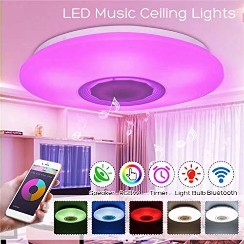 JUN LED Musik Deckenleuchten, RGBW APP/Sprachsteuerung Dimmbar Bluetooth Lautsprecher LED Deckenleuchte Fixture Arbeiten Sie mit Google Alexa zum Wohnzimmer Kinderzimmer Schlafzimmer