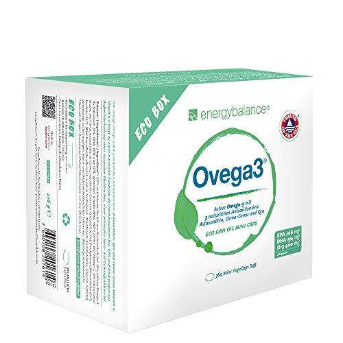 EnergyBalance Ovega3 360 Omega-3 Fischöl-Kapseln mit 3 natürlichen Antioxidantien | Astaxanthin, Coenzym Q10 & Vitamin C | Hochdosiert und Schadstofffrei | Markenqualität aus der Schweiz | 1x220g