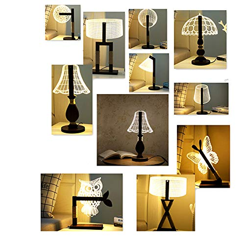 FABBD LED Tischlampe, Wohnzimmer Schlafzimmer Dekoration Dreidimensionale Nachttischlampe Kreative 3D Nachtlicht Acryl Holzlampe (Dimmbar),Erectball