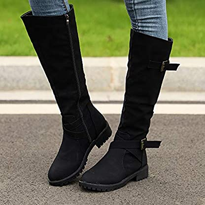BANAA Womens Over The Knee Boots, Knee High Shoes Calf Biker Boots Ladies Zip Punk Shoes Combat Army Boots Plus Size Shoes Boots 3