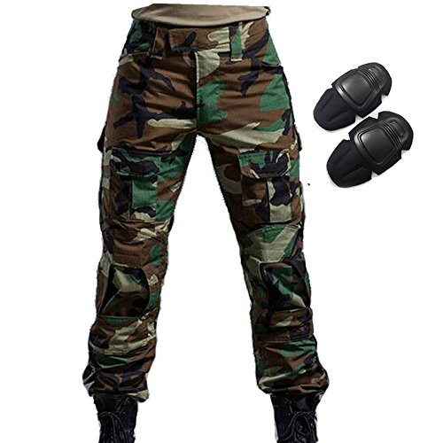 H Welt Shopping Military Army Tactical Airsoft Paintball Shooting Hose Combat Herren Hose mit Knie Pads woodland, Typhon Military Combat Hose