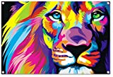 Abstract lion design on PVC-Tarpaulin including eyelets in the format: 23.6' x 15.7'. High-quality art print realized as wall picture
