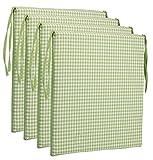 Brandsseller Sitzkissen Stuhlkissen kariert Kissen Sitzpolster - 40 x 40 cm (4er-Paket, hellgrün)