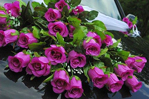 SPITZE STRAUß Auto Schmuck Braut Paar Rose Deko Dekoration Autoschmuck Hochzeit Car Auto Wedding Deko PKW (Violett 4)