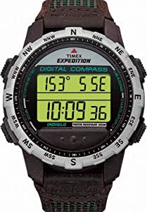 Timex Expedition Men's Digital Watch with LCD Dial Digital Display and Brown Leather Strap T778624E
