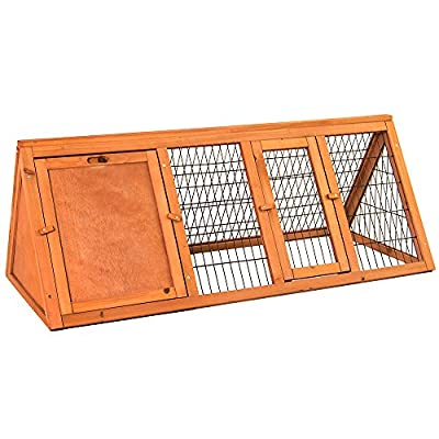Home Discount Wooden Pet Rabbit Hutch Triangle, Bunny Guinea Pig Cage Animal House Enclosure Outdoor Run, Large