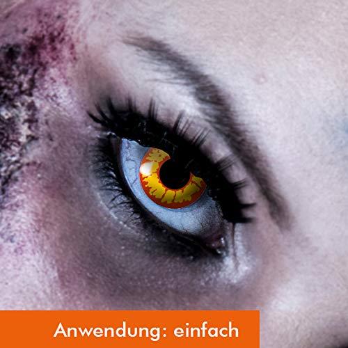 Zombie Kontaktlinsen Gelbe Kostüm - Farbige Kontaklinsen in ORK Rot Gelb für Zombie oder Vampir Kontaktlinse der Marke LEO EYES-Qualität zum kleinen Preis-ideal zu Halloween, Karneval, Fasching oder Fasnacht-ohne Stärke