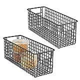 mDesign 2er-Set Allzweckkorb – hoher Aufbewahrungskorb aus Metall – kompakter Drahtkorb mit Griffen – universelle Gitterbox für Küche, Bad und andere Räume – mattschwarz