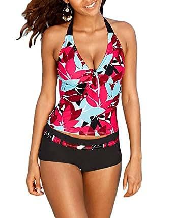 Donne stampa due pezzi costume tankinis grandi costumi da bagno costumi interi bikini m amazon - Costumi piscina due pezzi ...