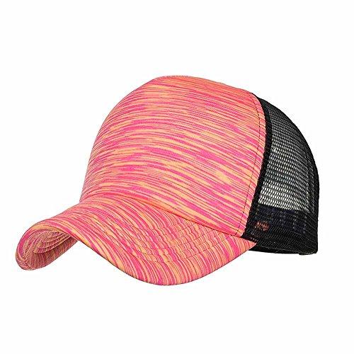 Sport Cap , BURFLY Mode Frauen Männer Sommer Outdoor Tennis Cap einstellbare bunte Streifen Baseball Cap Hut Mesh Cap Schatten, verstellbar (Hot Pink) (Rosa Mini Cowboy Hut)