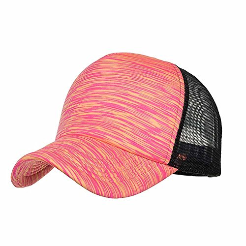 (Sport Cap , BURFLY Mode Frauen Männer Sommer Outdoor Tennis Cap einstellbare bunte Streifen Baseball Cap Hut Mesh Cap Schatten, verstellbar (Hot Pink))