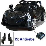 Roadster mit 2x Motoren mp3 LED Elektro Kinderauto Kinder Auto Elektroauto Elektrofahrzeug (Schwarz / Weiss / Rot)