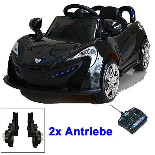 *Roadster mit 2x Motoren mp3 LED Elektro Kinderauto Kinder Auto Elektroauto Elektrofahrzeug (schwarz)*