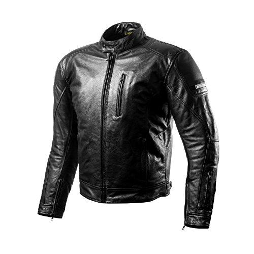 SHIMA HUNTER BLACK, Herren Leder Motorradjacken Rückenprotektor Vintage Retro Sommer (S-XXL), Schwarz, XL